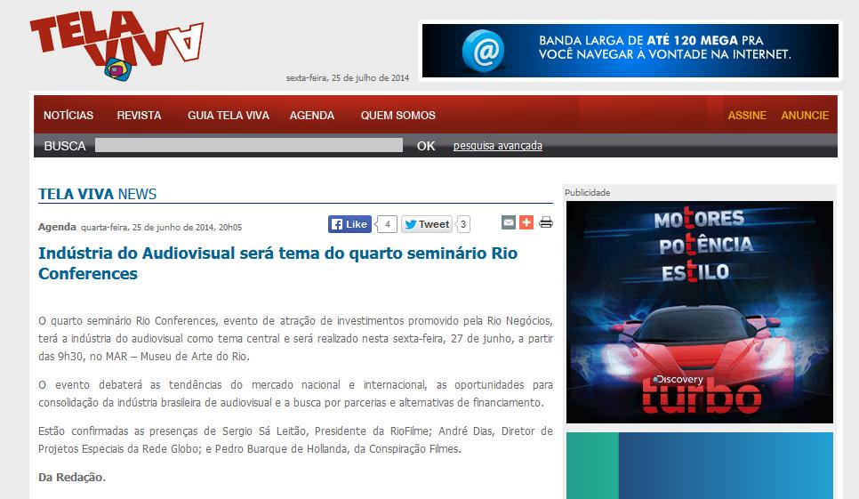 Tela Viva – Indústria do Audiovisual será tema do quarto seminário Rio Conferences
