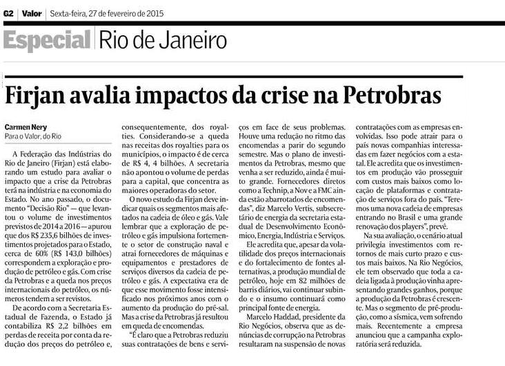 Valor Econômico – Firjan avalia impactos na Petrobras