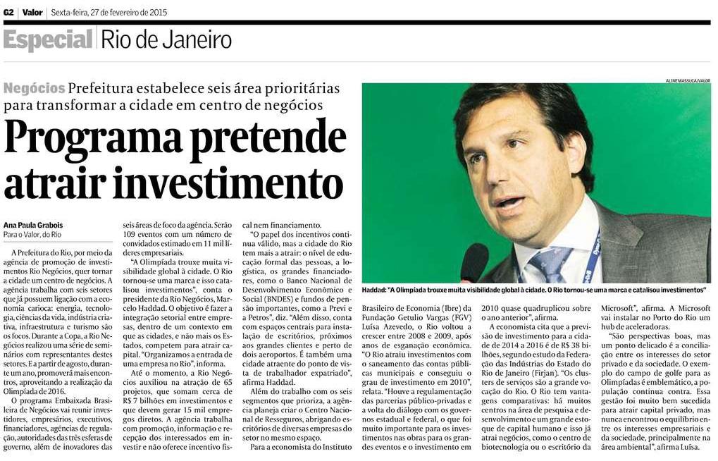 Valor econômico Rio Negócios