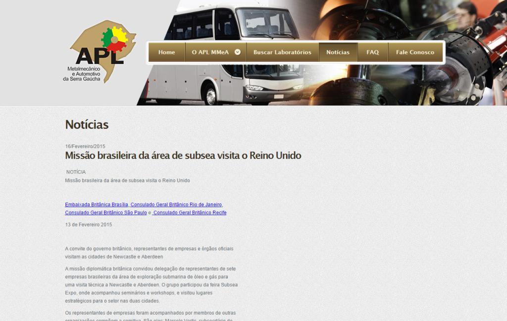APL - Missão brasileira da área de subsea visita o Reino Unido