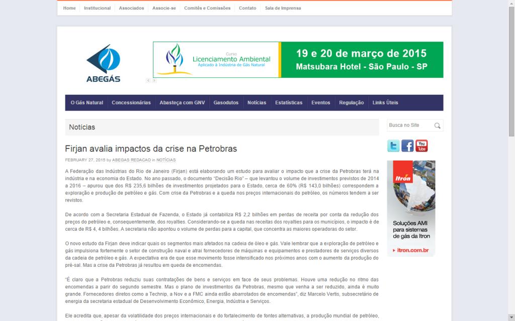 ABEGÁS – Firjan avalia impactos da crise na Petrobras