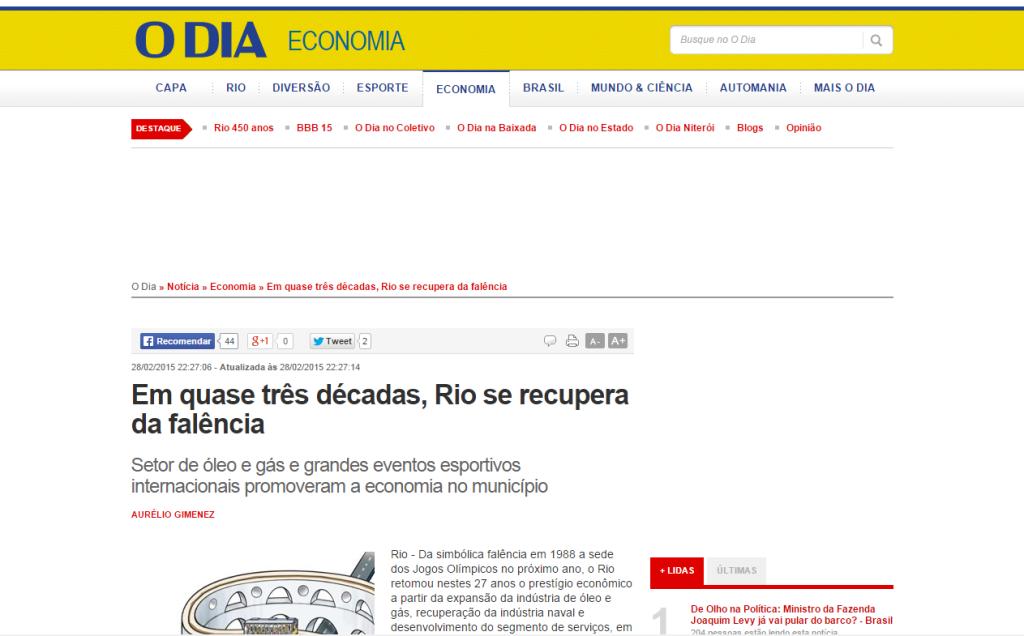 O Dia Online – Em quase três décadas, Rio se recupera da falência