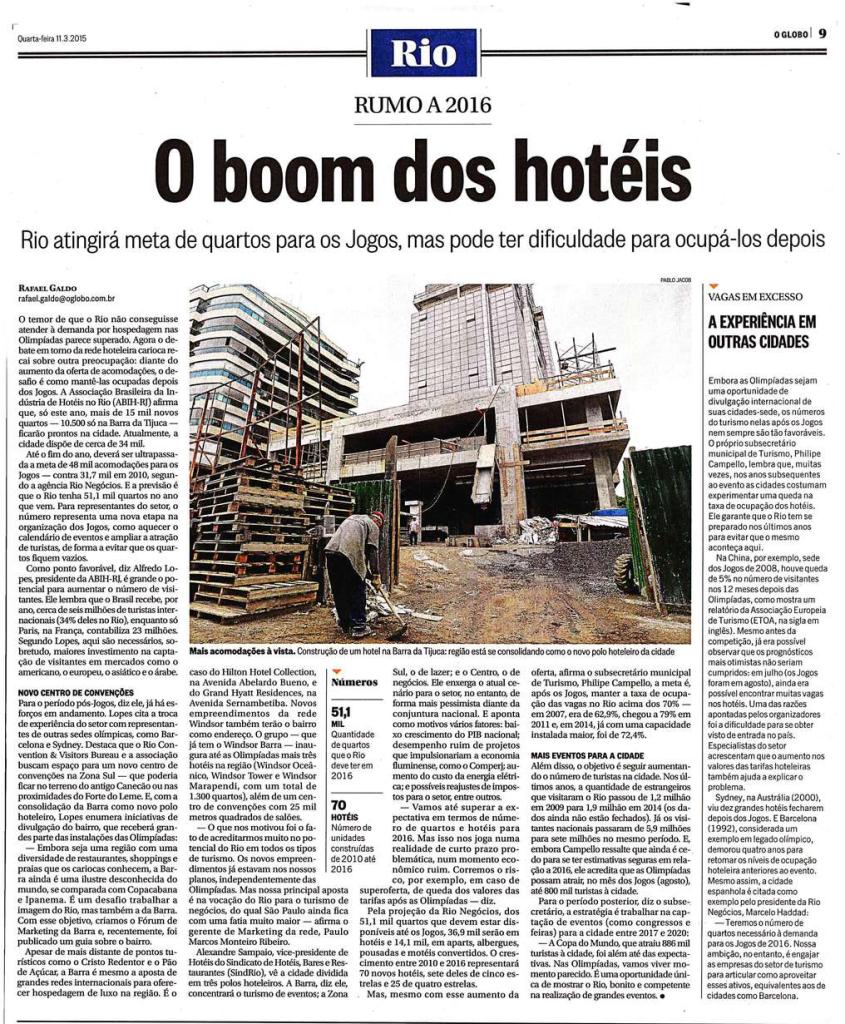 O Globo – O boom dos hotéis