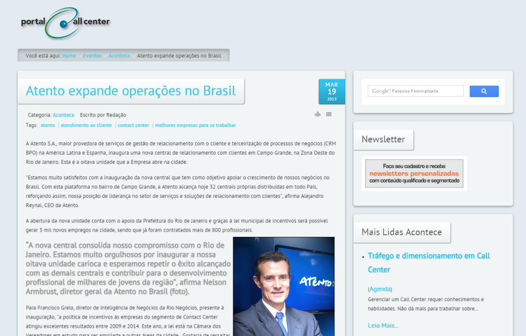 Portal Call Center - Atento expande operações no Brasil