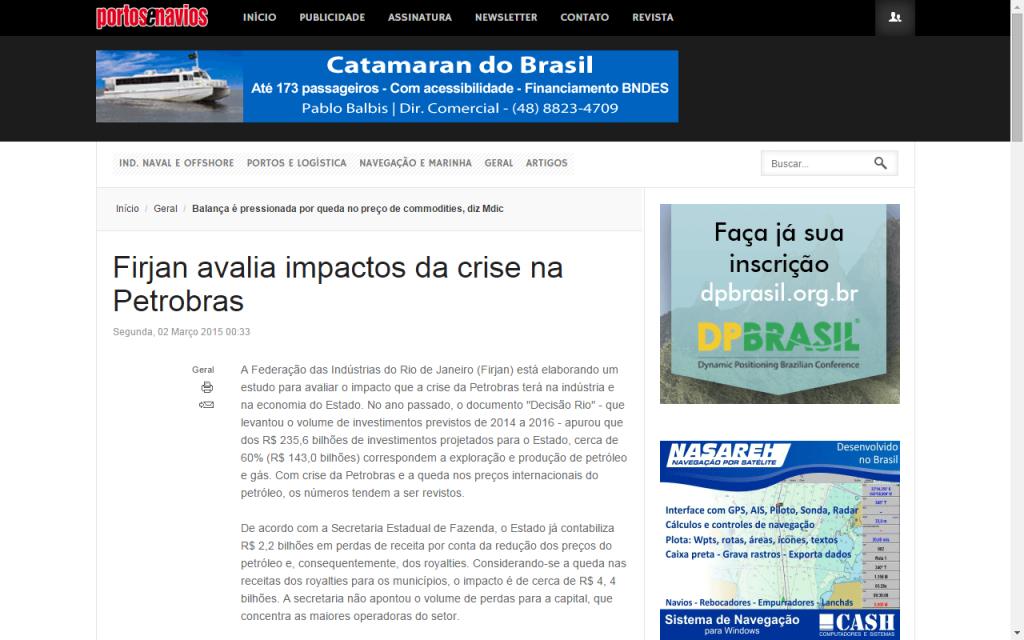 Portos e Navios - Firjan avalia impactos da crise na Petrobras
