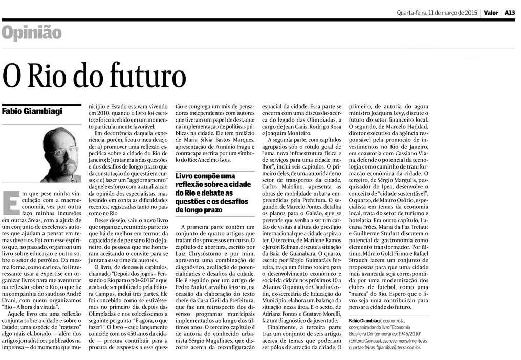 Valor Econômico - O Rio do Futuro