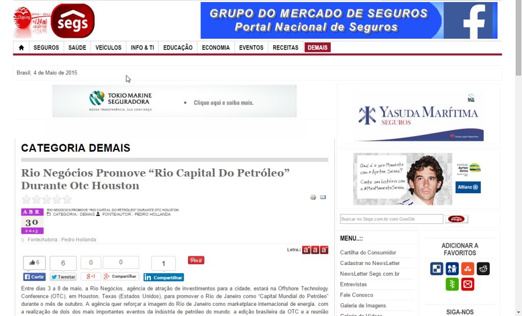"Portal Nacional de Seguros – Rio Negócios Promove ""Rio Capital Do Petróleo"" Durante Otc Houston"
