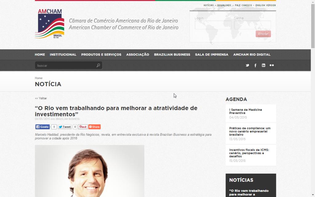 """AmCham Brasil – """"O Rio vem trabalhando para melhorar a atratividade de investimentos"""""""