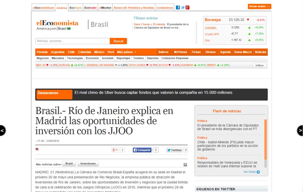 elEconomista – Río de Janeiro explica en Madrid las oportunidades de inversión con los JJOO