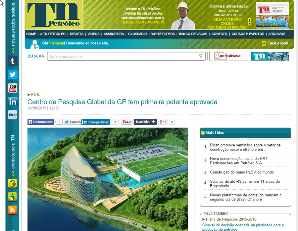 TN Petróleo – Centro de Pesquisa Global da GE tem primeira patente aprovada