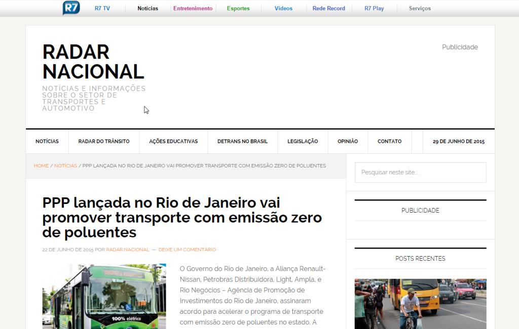 Radar Nacional – PPP lançada no Rio de Janeiro vai promover transporte com emissão zero de poluentes
