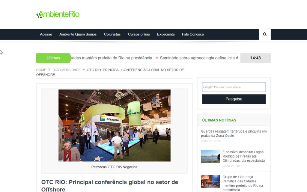 Meio Ambiente Rio – OTC RIO: Principal conferência global no setor de Offshore