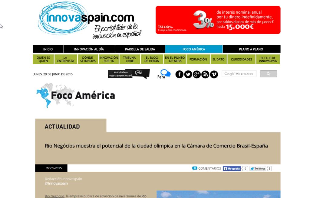 innovaspain.com – Rio Negócios muestra el potencial de la ciudad olímpica en la Cámara de Comercio Brasil-España