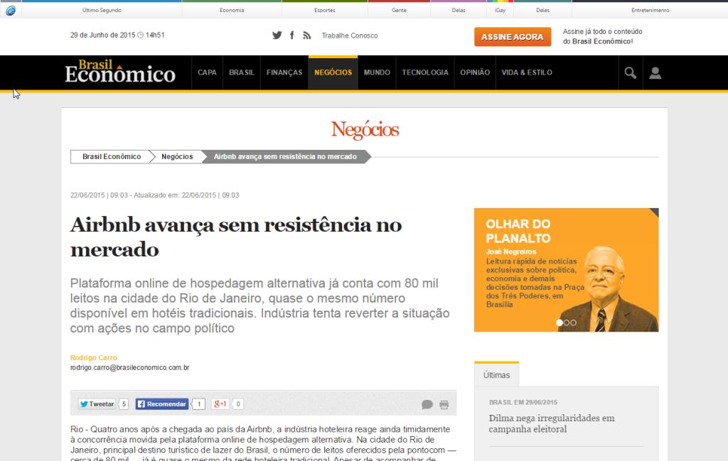 Brasil Econômico – Airbnb avança sem resistência no mercado