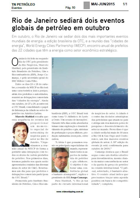 TN PETRÓLEO - Rio sediará dois eventos globais de petróleo em outubro