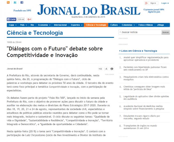 Jornal do Brasil 19-08-2015 Diálogos com o Futuro debate sobre Competitividade de Inovação