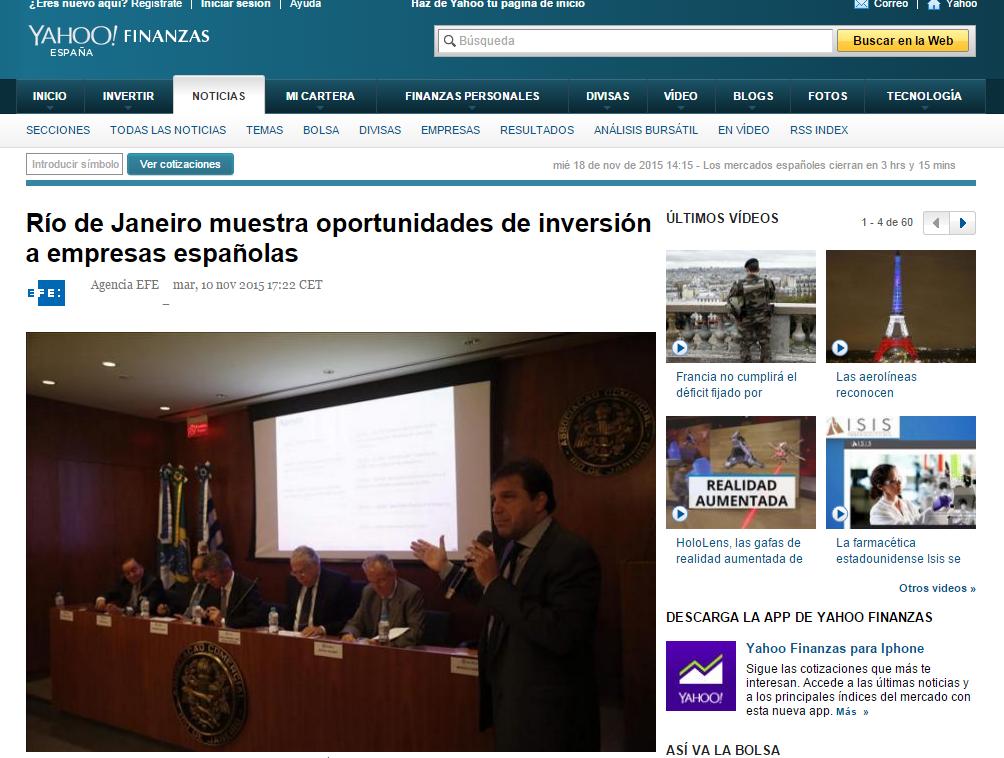 10.11 Yahoo ES - Río de Janeiro muestra oportunidades de inversión a empresas españolas