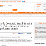 elEconomista – Cámara de Comercio Brasil-España y Rio Negócios lanzan seminario sobre proyectos en Río